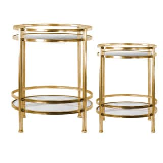 Metal Round Table with Beveled Mirror Top and Clear Glass Base Shelf Set of Two (2) Distressed Metallic Finish Gold