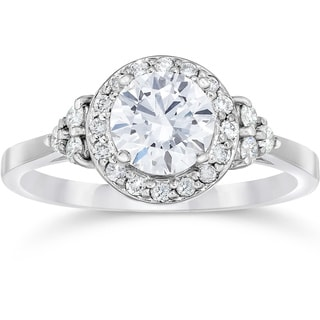 14k White Gold 1ct TDW Halo Vintage Diamond Engagement Ring