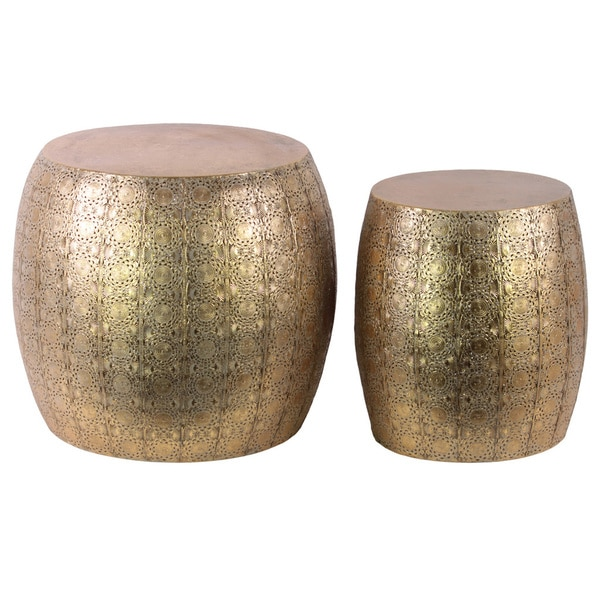 Safavieh Corey Antique Copper Coffee Table: Metal Round Table With Embossed Floral Design Set Of Two