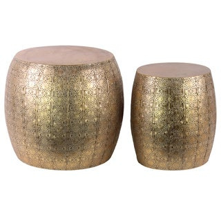 Metal Round Table with Embossed Floral Design Set of Two (2) Metallic Finish Gold Foil