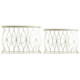 Metal Rectangular Nesting Console Table with Mirror Top, Quatrefoil Design and Rectangular Base Set of Two Metallic Finish Gold
