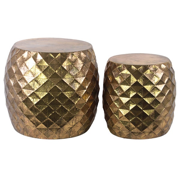 Metal Round Table With Embossed Lattice Design Set Of Two
