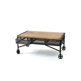 Hip Vintage Steel and Wood Finish Throwback Coffee Table