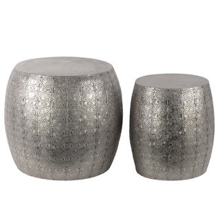 Metal Round Table with Embossed Floral Design Set of Two (2) Metallic Finish Silver
