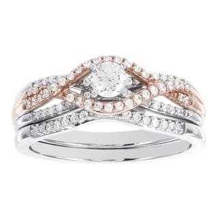 H Star 14K White and Rose Gold 0.5ct TDW Diamond Wedding Set (I-J, I2-I3)