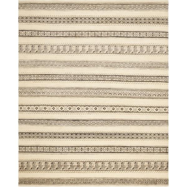 Safavieh Hand-knotted Santa Fe Striped Nomadic Natural/ Multi Wool Rug (8' x 10')