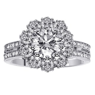 14k or 18k White Gold 2 1/2ct TDW 2-row Shank Diamond Halo Engagement Ring