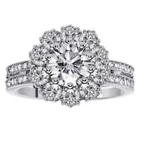14k or 18k White Gold 2 1/2ct TDW 2-row Shank Diamond Halo Engagement Ring