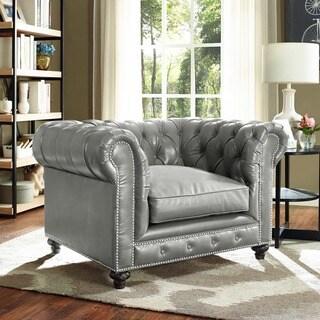 Greenwich Graphite Metallic Leather Club Chair 16227738