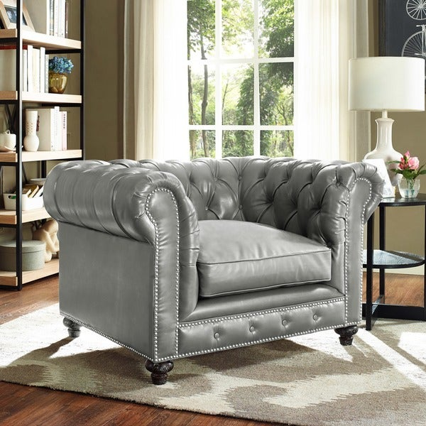 Shop Rustic Grey Leather Club Chair Free Shipping Today