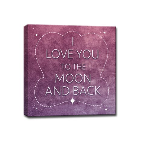I Love you to the Moon & Back' Romantic Wrapped Canvas Wall Art