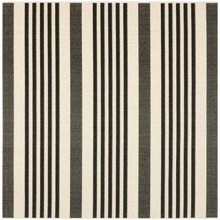 Safavieh Indoor/ Outdoor Courtyard Black/ Bone Rug (4' Square)
