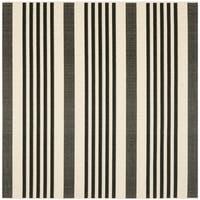 Safavieh Courtyard Stripe Black/ Bone Indoor/ Outdoor Rug - 4' x 4' Square