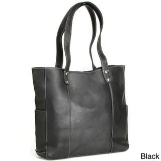 LeDonne Leather Double Strap Rivet Tote Bag
