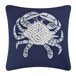 Crab Embellished Throw Pillow