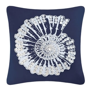 Nautilus Shell Shell Embellished 18 Inch Throw Pillow