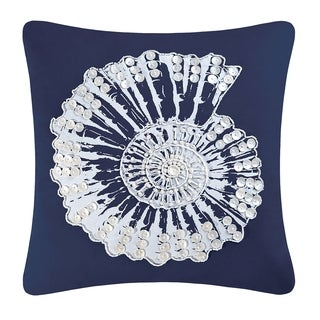 Nautilus Shell Embellished Throw Pillow