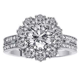 Platinum 2 1/2ct TDW 2-row Shank Clarity Enhanced Diamond Halo Engagement Ring