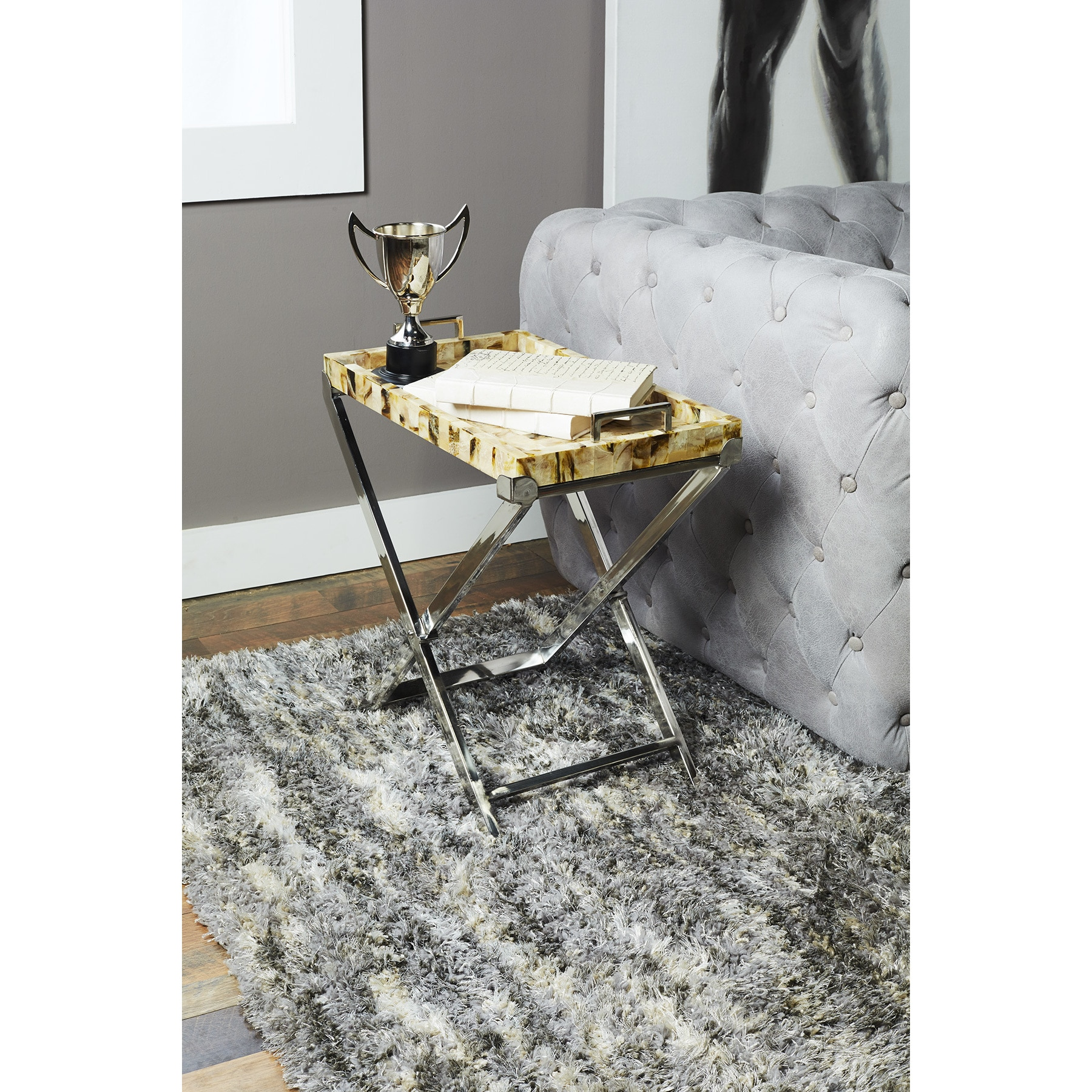 Puzzle Side Table (Hip Vintage Crosby Tray Table), Silver