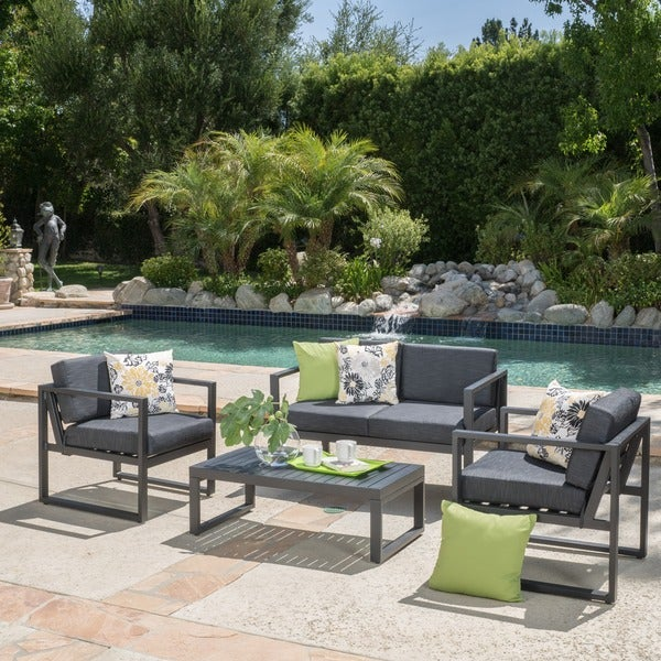 Navan Outdoor 4 piece Aluminum Chat Set with Cushions by Christopher Knight H
