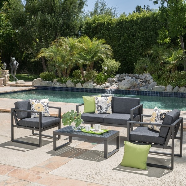Navan Outdoor 4-piece Aluminum Conversation Set with Grey Cushions - Navan Outdoor 4-piece Aluminum Conversation Set With Grey Cushions