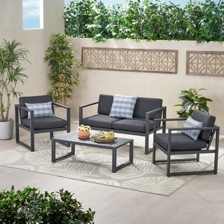 Navan Outdoor 4 Piece Aluminum Conversation Set With Grey Cushions