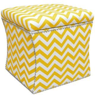 Skyline Furniture Nail Button Storage Ottoman in Zig Zag Yellow Slub