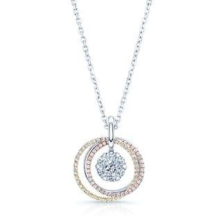 14k Multi-color Gold 1 3/4ct TDW Diamond Three-circle Pendant (G-I, VS-SI)