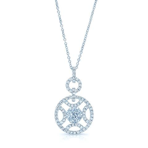 14k White Gold 7/8ct TDW Diamond Circle Pendant