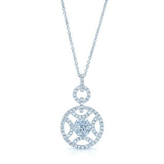 14k White Gold 7/8ct TDW Diamond Circle Pendant (G-I, VS-SI)