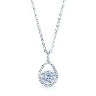 14k White Gold 5/8ct TDW Diamond Tear Drop Basket Pendant (H-I, SI1-SI2)