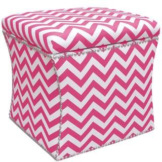 Skyline Furniture Nail Button Storage Ottoman in Zig Zag Candy Pink