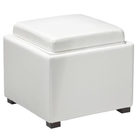 Cortesi Home Mavi Snow White Storage Tray Ottoman in Bonded Leather