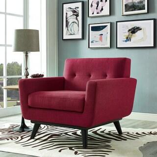 James Red Linen Chair