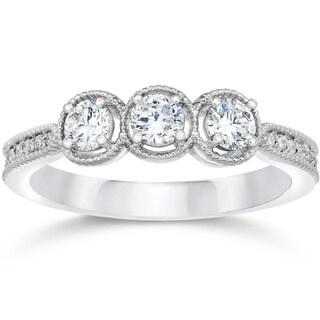10k White Gold 1/2ct TDW Vintage 3-stone Diamond Engagement Ring