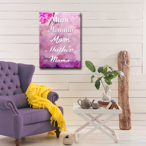 Mum, Mommy, Mom, Mother, Mama' Wrapped Canvas Wall Art
