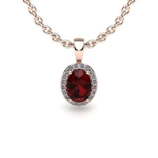 14k Rose Gold 1/2ct Oval Shape Garnet and Diamond Halo Accent Necklace with 18-inch Chain