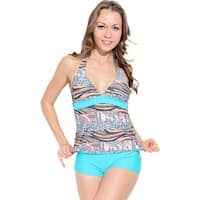 Orange and Turquoise Tiger Tankini with Boyshorts