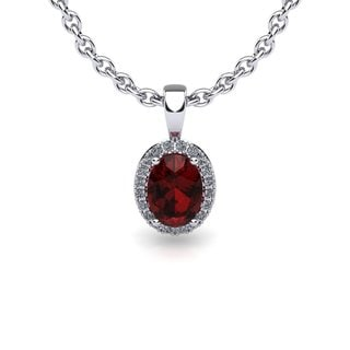 10k White Gold 1ct Oval Shape Garnet and Diamond Halo Necklace with 18-inch Chain