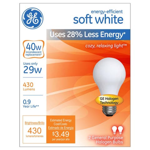 GE Lighting 63002 29 Watt Soft White A19 Halogen Light Bulb 2-count