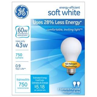 GE Lighting 63003 43 Watt White Halogen Light Bulb 2-count