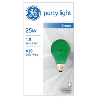 GE Lighting 49725 25 Watt Green Crystal Color Party Light Bulb