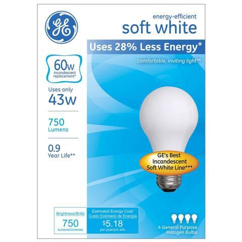 GE Lighting 66247 43 Watt A19 Halogen Light Bulb Pack 4-count