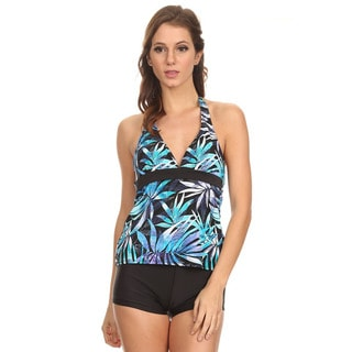 Dippin' Daisy's Blue Leaves Halter Tankini with Boyshorts
