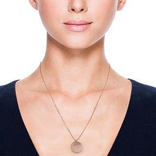 Eternally Haute 14k Rose Goldplated 'Mom' Disc Pendant Necklace