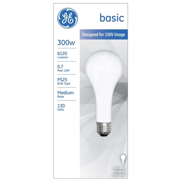 Shop Ge Incandescent Light Bulb 300 Watts 6120 Lumens 2715 K Pear