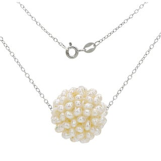 DaVonna .925 Sterling Silver Chain Necklace with 18-19mm Snowball Design White Freshwater Cultured Pearl as Pendant, 18""