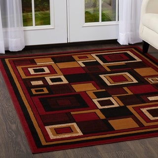 "Home Dynamix Premium Collection Contemporary Red Area Rug - 7'8"" x 10'7"""