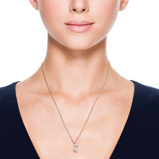Eternally Haute 14k Rose Goldplated Cubic Zirconia Pave Bone Pendant Necklace - Pink