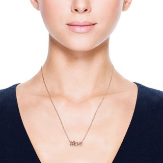 Eternally Haute 14k Rose Goldplated 'Hashtag Love' Necklace